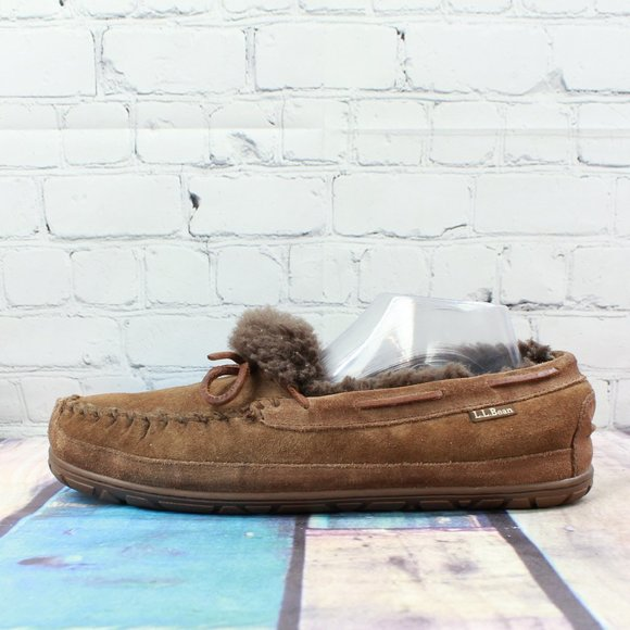 LL BEAN Wicked Good Shearling Lined Mocs Size 11 M